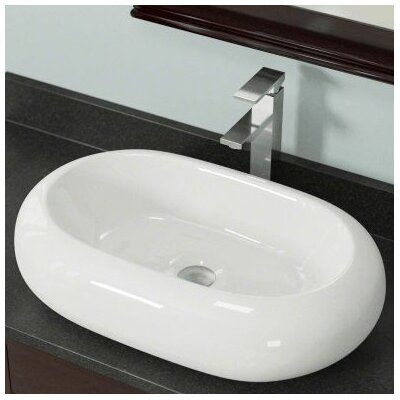 Vitreous China Oval Vessel Bathroom Sink Sink Finish: Bisque