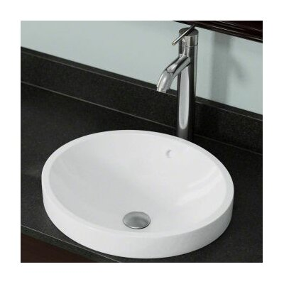 Vitreous China Circular Vessel Bathroom Sink with Overflow Sink Finish: White