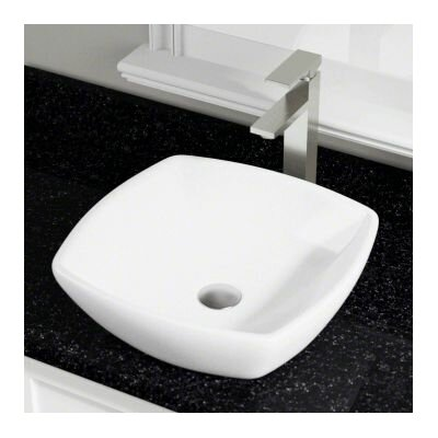 Vitreous China Square Vessel Bathroom Sink Sink Finish: White