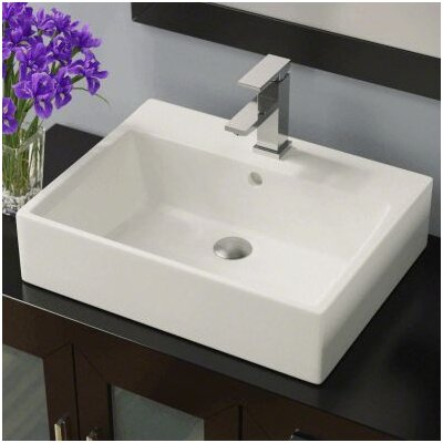 Porcelain Rectangular Vessel Bathroom Sink Sink Finish: Bisque