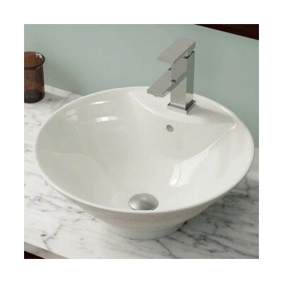 Vitreous China Circular Vessel Bathroom Sink with Overflow Sink Finish: Bisque