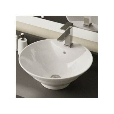 Porcelain Circular Vessel Bathroom Sink Sink Finish: White