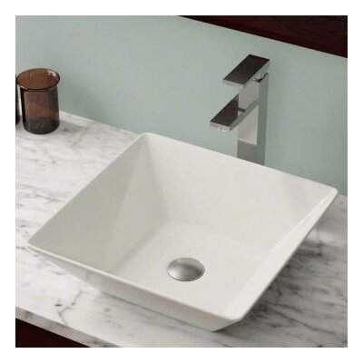 Vitreous China Square Vessel Bathroom Sink Sink Finish: Bisque