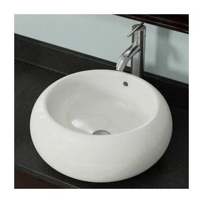 Porcelain Circular Vessel Bathroom Sink Sink Finish: Bisque