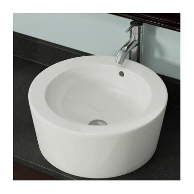 Porcelain Circular Vessel Bathroom Sink with Overflow Sink Finish: Bisque