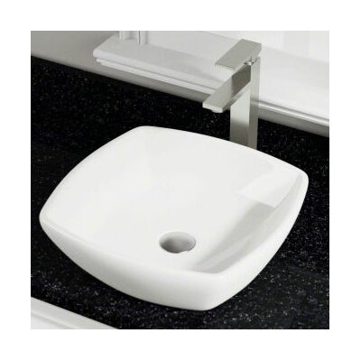 Porcelain Square Vessel Bathroom Sink Sink Finish: Bisque
