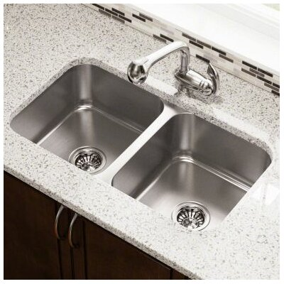 31.75 x 18.75 Double Bowl Undermount Stainless Steel Kitchen Sink