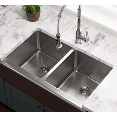 32.75 x 20 Double Equal Bowl Apron Kitchen Sink