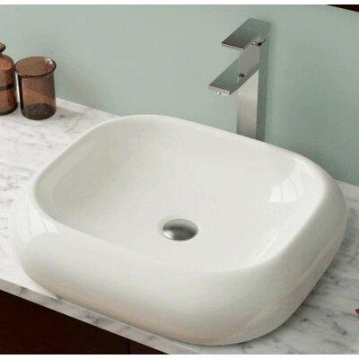 Porcelain Rectangular Vessel Bathroom Sink Sink Finish: Bisque