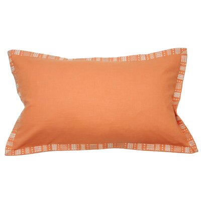 Embroidered Border Cotton Lumbar Pillow Color: Coral