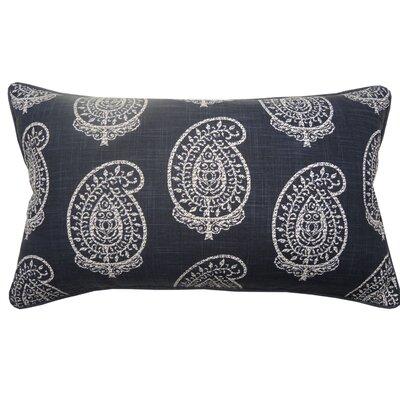 Paisley Double Sided Block Print Lumbar Pillow Color: Navy