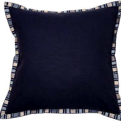 Embroidered Border Throw Pillow Color: Navy