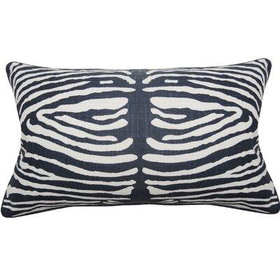 Zebra Double Sided Block Print Lumbar Pillow Color: Navy