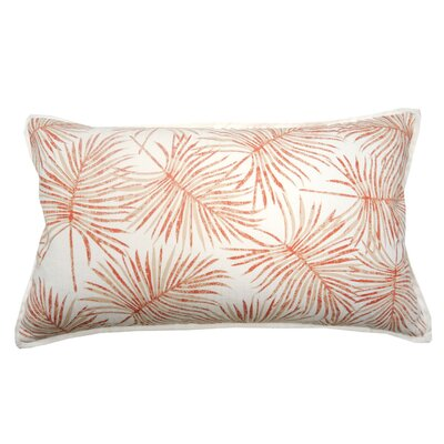 Palm Print Knife Edge Trim Lumbar Pillow Color: Coral