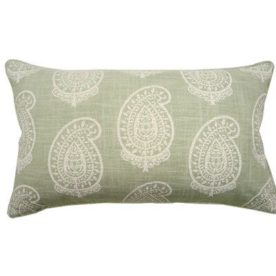 Paisley Double Sided Block Print Lumbar Pillow Color: Mint