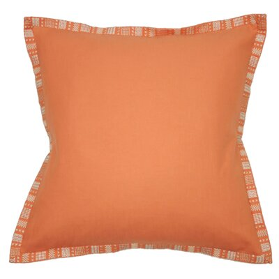 Embroidered Border Throw Pillow Color: Coral