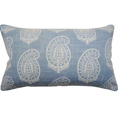 Paisley Double Sided Block Print Lumbar Pillow Color: French Blue