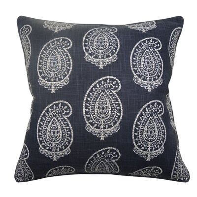 Paisley Double Sided Block Print Cotton Throw Pillow Color: Navy