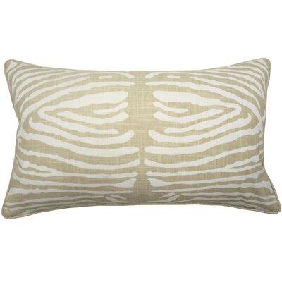 Zebra Double Sided Block Print Lumbar Pillow Color: Natural