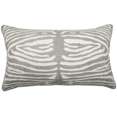 Zebra Double Sided Block Print Lumbar Pillow Color: Gray