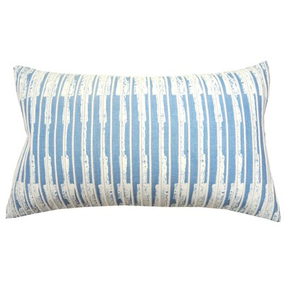 Paint Flecks Embroidered Cotton Lumbar Pillow Color: French Blue