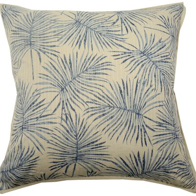 Palm Print Knife Edge Trim Throw Pillow Color: Navy