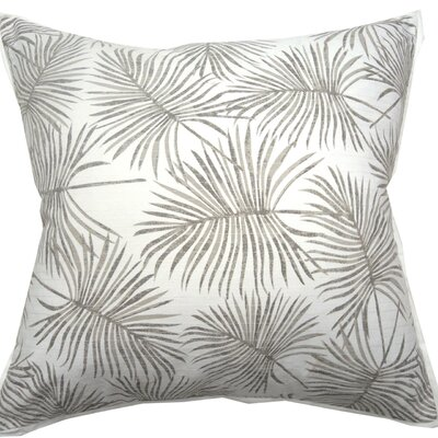 Palm Print Knife Edge Trim Throw Pillow Color: Natural