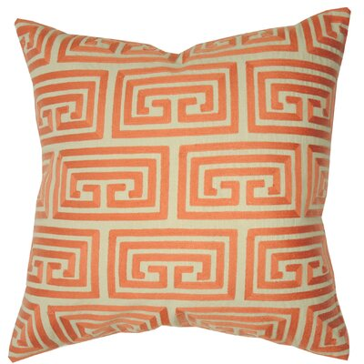 Greek Key Oversized Cotton Throw Pillow Color: Coral