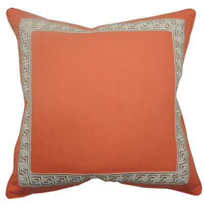 Greek Key Throw Pillow Color: Coral