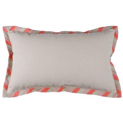 Stripe Crewel Cotton Lumbar Pillow Color: Natural/Coral