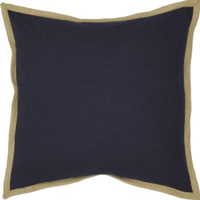 Jute Border Cotton Throw Pillow Color: Navy