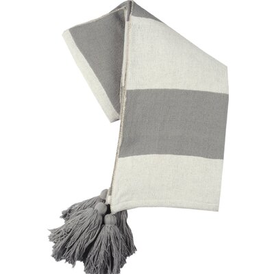 Stripe Club Cotton Throw Color: Gray/Ivory