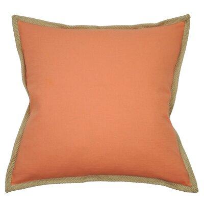 Jute Border Cotton Throw Pillow Color: Coral