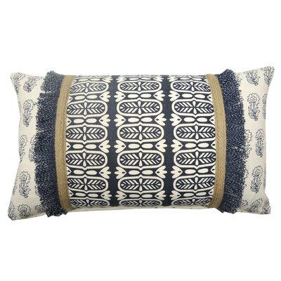 Jute Fringe Cotton Lumbar Pillow Color: Navy