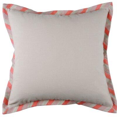Stripe Crewel Cotton Throw Pillow Color: Natural/Coral