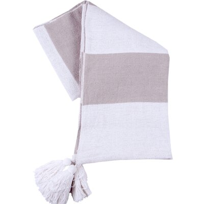 Stripe Club Cotton Throw Color: Tan/Ivory