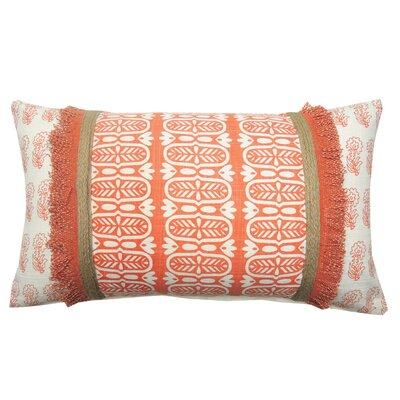 Jute Fringe Cotton Lumbar Pillow Color: Coral