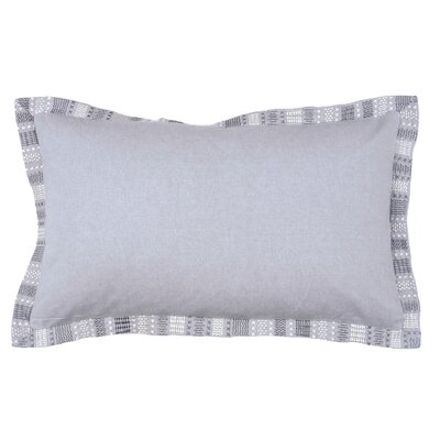 Embroidered Border 100% Cotton Lumbar Pillow Color: Pewter