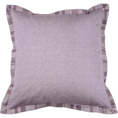 Embroidered Border 100% Cotton Throw Pillow Color: Fig
