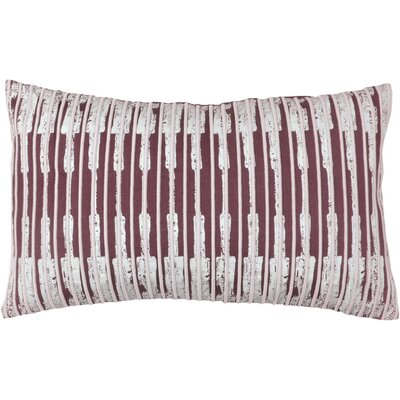 Ikat Stripe 100% Cotton Lumbar Pillow Color: Fig