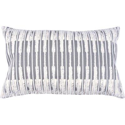 Ikat Stripe 100% Cotton Lumbar Pillow Color: Pewter