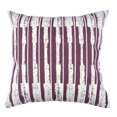 Ikat Stripe 100% Cotton Throw Pillow Color: Fig