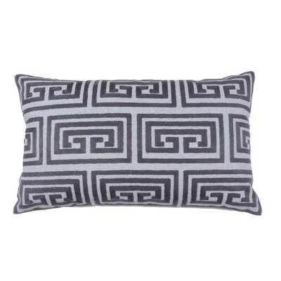 Greek Key Oversized 100% Cotton Blend Lumbar Pillow Color: Pewter