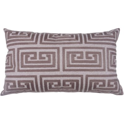 Greek Key Oversized 100% Cotton Blend Lumbar Pillow Color: Morel