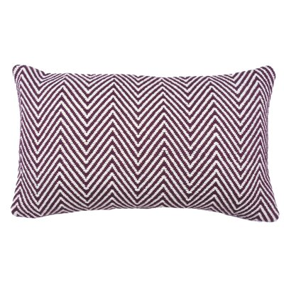 Herringbone 100% Cotton Lumbar Pillow Color: Fig/Ivory