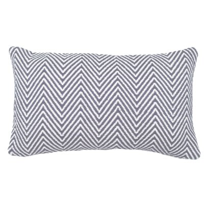 Herringbone 100% Cotton Lumbar Pillow Color: Pewter/Ivory