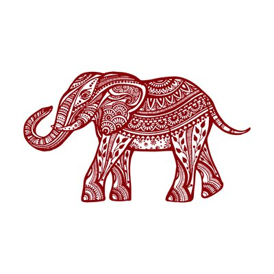 Kater Elephant Animal Wall Decal Color: Purple Red