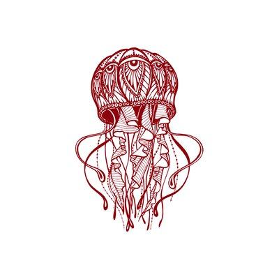 Manila Jellyfish Bathroom Wall Decal Color: Purple Red