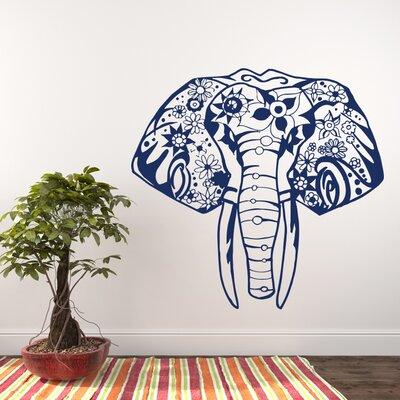 Litton Elephant Yoga Wall Decal Color: Navy Blue