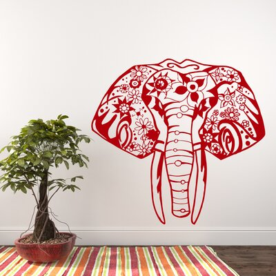 Litton Elephant Yoga Wall Decal Color: Red
